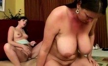 MILF teaches beautiful brunette daughter to please a hefty
