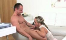 Sexy blonde aganet bangs stud