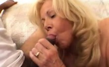 Mature slut fucks a big black dick and takes a huge load in her mouth