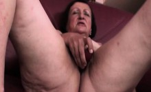 Mature brunette pleasing herself with sex toys
