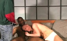 Gay interracial threesome banging