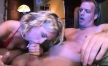 Blonde bitch enjoys a throbbing member
