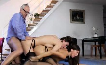 FFM threesome for British MILF in stockings and high heels