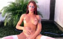 Busty redhead tgirl in stockings jerking