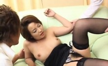 Rio pretty Asian milf enjoys two cocks in a double date