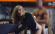 Hot blond milf nailed by nasty pawn guy in storage room