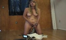 Big breasted blonde amateur has a long dildo pleasing her t