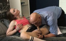 Tiny tits brunette shemale gets her juicy asshole slammed