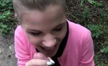 Cute Czech teen flashing perfect tits in public