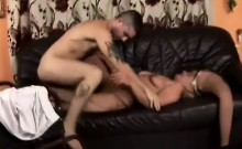 Blonde woman with big bush and amputated leg gets fucked