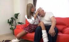 Subtitles Japanese schoolgirl bald old man head masturbation