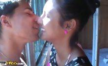 Teen couple in cottage fuck scene