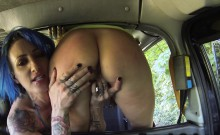 Fake taxi driver fisting beside her cab outdoor