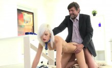 Sweet schoolgirl is tempted and poked by her aged schoolteac