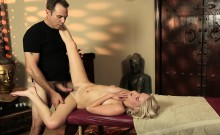 Teen massaged and creamed