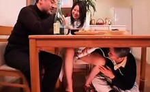 Lovely Japanese housewife has a horny old man pleasing her