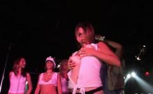 Hot bombshells strip in a nightclub