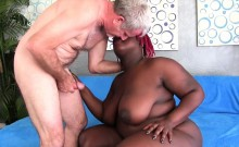 Sexy black BBW gives her buddy a wonderful blowjob before