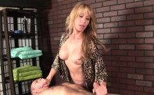 Busty Milf Masseuse Tugging And Slapping Dick