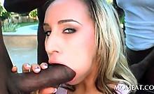 Blonde cheerleader taking black huge dicks in outdoor 4some