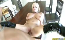 The sexy Haley riding cock while her boobies jiggle!!!
