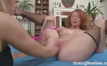 Redhead Bitch Gets Fisted By Golden-haired