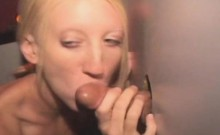 Skinny Blonde Taking Facial From Black Guy At Glory Hole