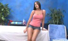 Sexy brunette Kortney fucks and sucks her massage therapist