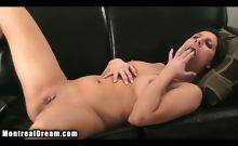 sexy hot brunette pleasures her pussy with her bare hands