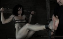 Tied up breasts with toy pleasuring