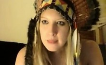 Hot canadian milf in headress teases body