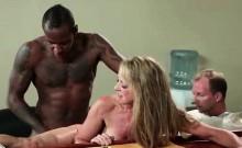 Blonde hooker takes massive black dick