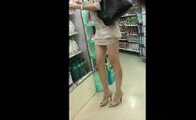 Asian Beauty With Great Legs Walking Around