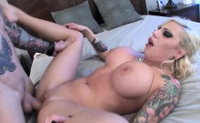 Vyxen Steel lets him cum on her huge tits