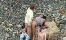 Kinky amateur couple having hardcore sex on the beach