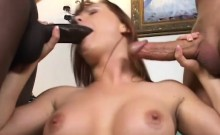 Blindfolded Katja chokes on two massive dicks