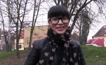 Beautiful Russian student bangs in public