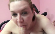 Chubby redhead Sinful Skye lets her huge tits bounce while