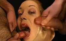Pretty sweethearts' mouths filled to the brim with jizz