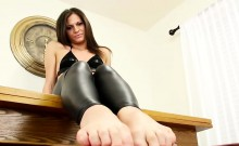 Feet teasing trans beauty curling her toes