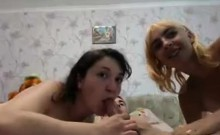 Slutty blonde in threesome