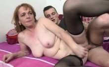 Big titted brunette mature fucks in stockings