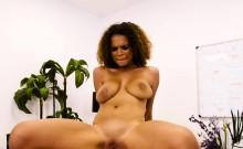 Huge natural tits ebony fucks her boss