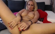 Sexy blonde milf at home stripteasing and masturbating her p