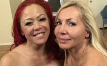 POV double blow job on a big spanish dong!
