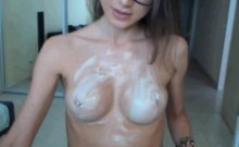 Sexy babe nude on webcam with hot creamy tits