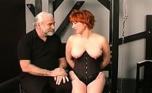 Man plays harsh on babe's pussy in outlandish bondage