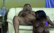Black girls playing with dildo