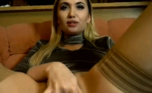 Hot blonde slut plays with pussy and vapes