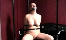 Tightly bound bitch gets her fur pie thoroughly examined